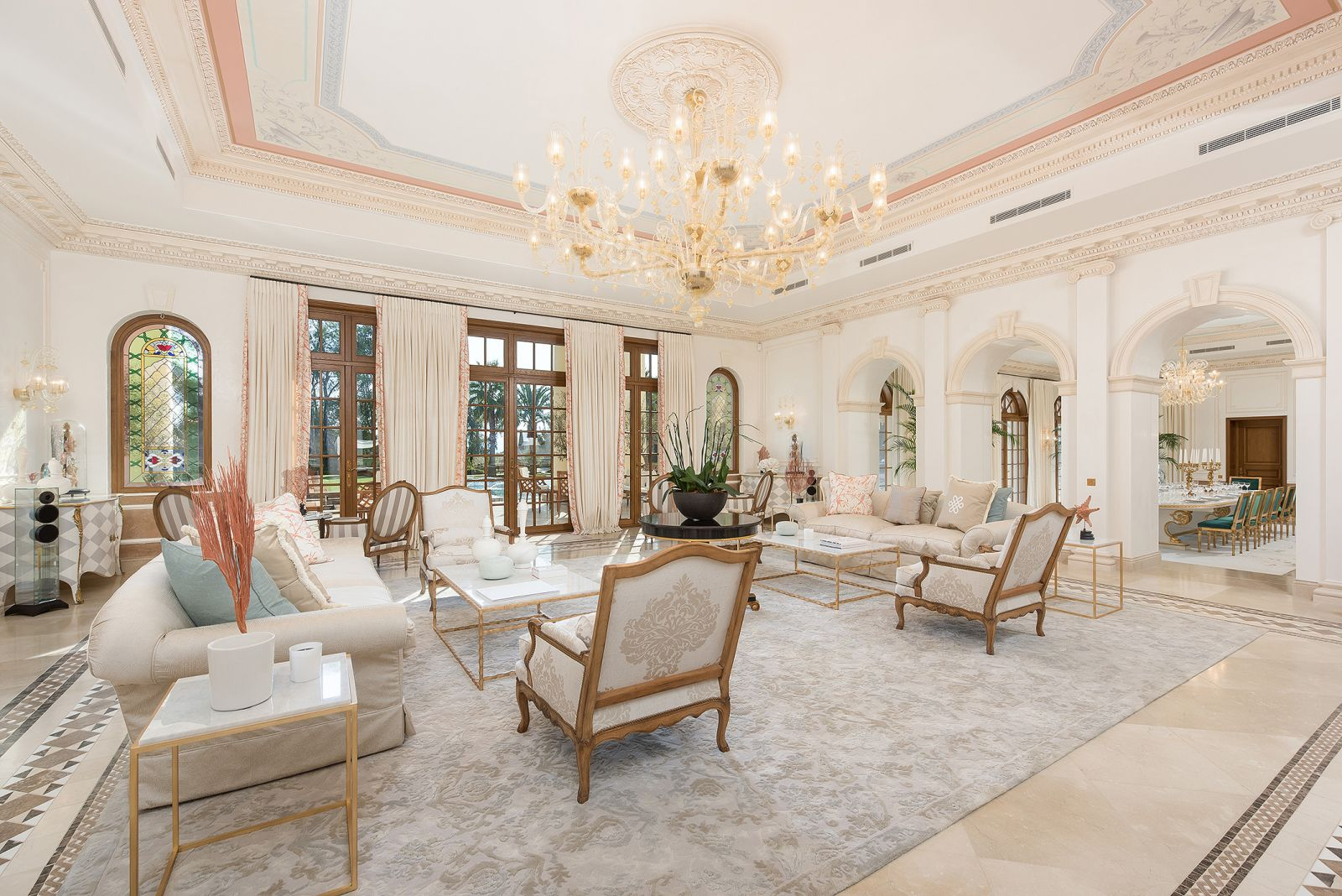 Palais Vénitien, extraordinary palatial property in Cannes, France | Triple living room | FINEST RESIDENCES