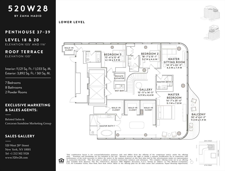 Zaha Hadid Penthouse, 520 West 28th Street, Chelsea, New York | Floor Plan, Lower Level |Corcoran | Finest Residences