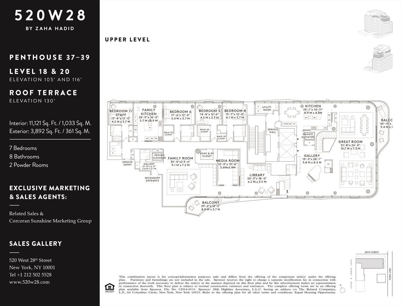 Zaha Hadid Penthouse, 520 West 28th Street, Chelsea, New York | Floor Plan, Upper Level |Corcoran | Finest Residences