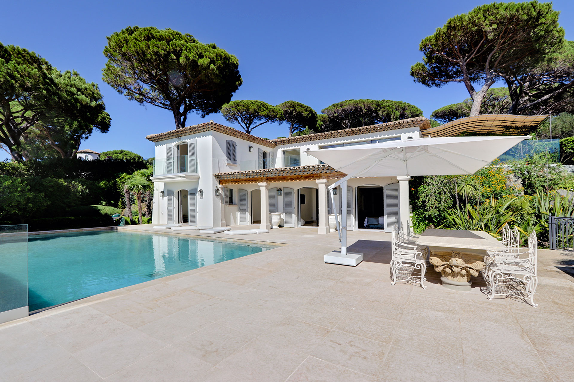 Luxury Property in Les Parcs de Saint Tropez, Côte d'Azur, France • View From The Garden and Pool Terrace | Listed by Bernard Corcos, CEO of Finest International | FINEST RESIDENCES