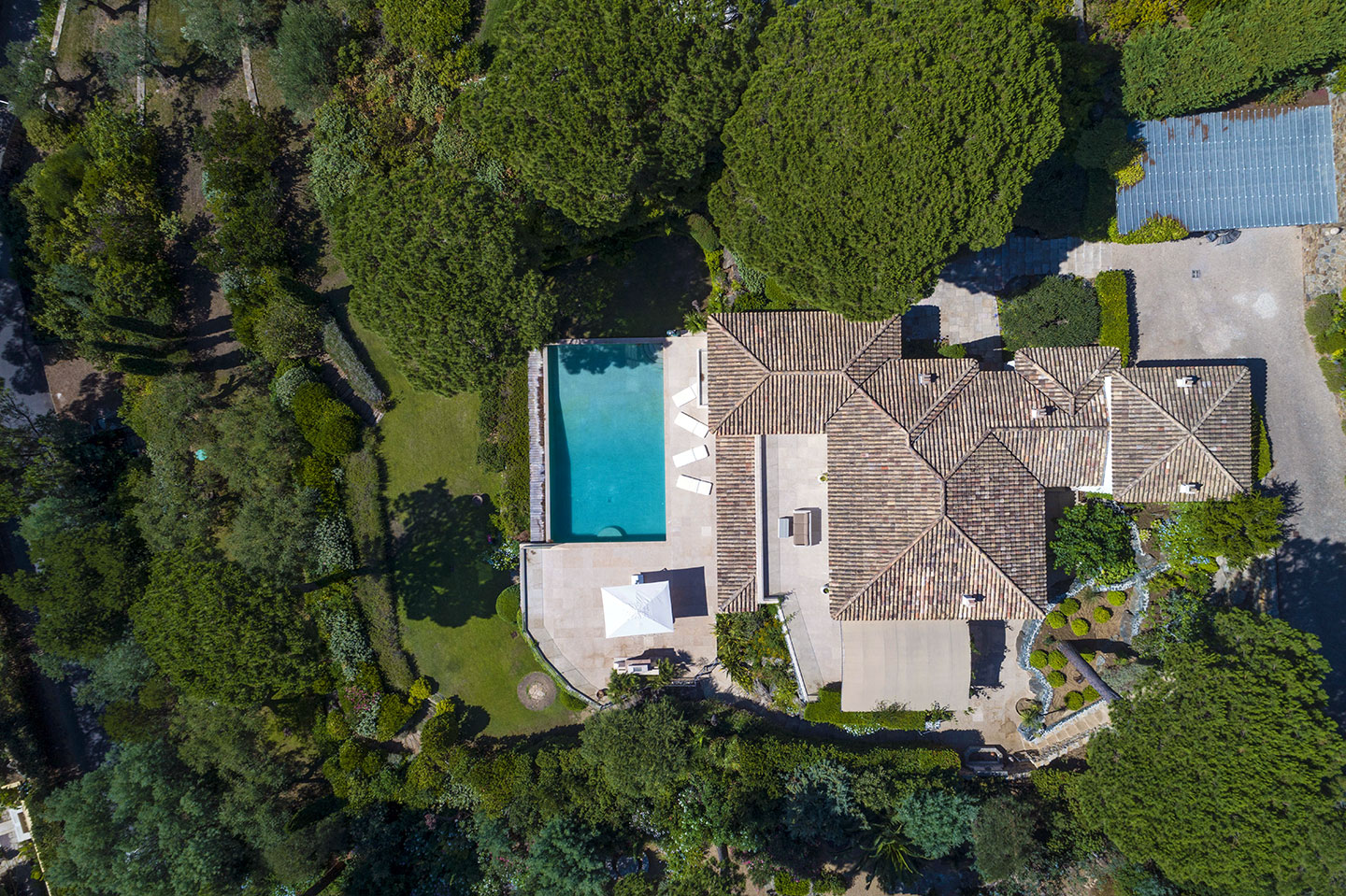 Luxury Property in Les Parcs de Saint Tropez, Côte d'Azur, France • Aerial View On The Villa | Listed by Bernard Corcos, CEO of Finest International | FINEST RESIDENCES